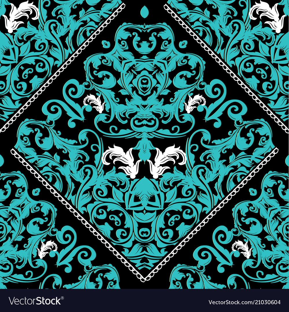 Baroque seamless pattern black floral ornate