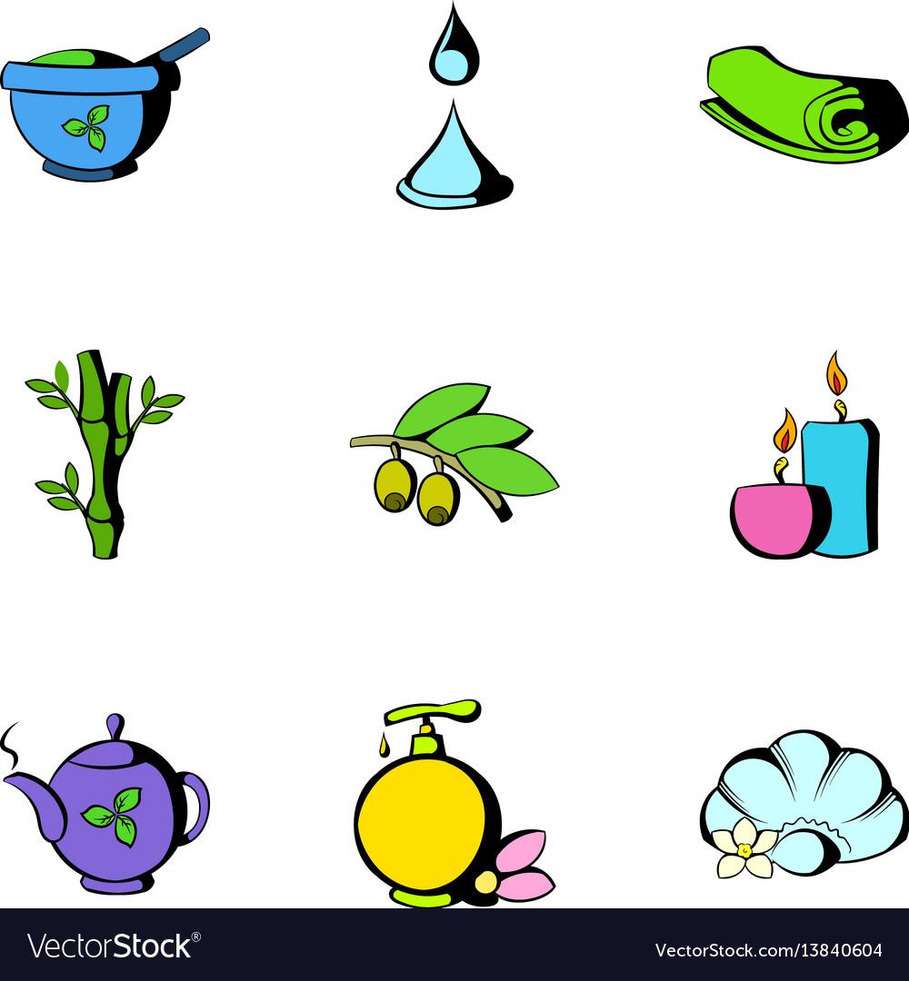 Beauty spa icons set cartoon style