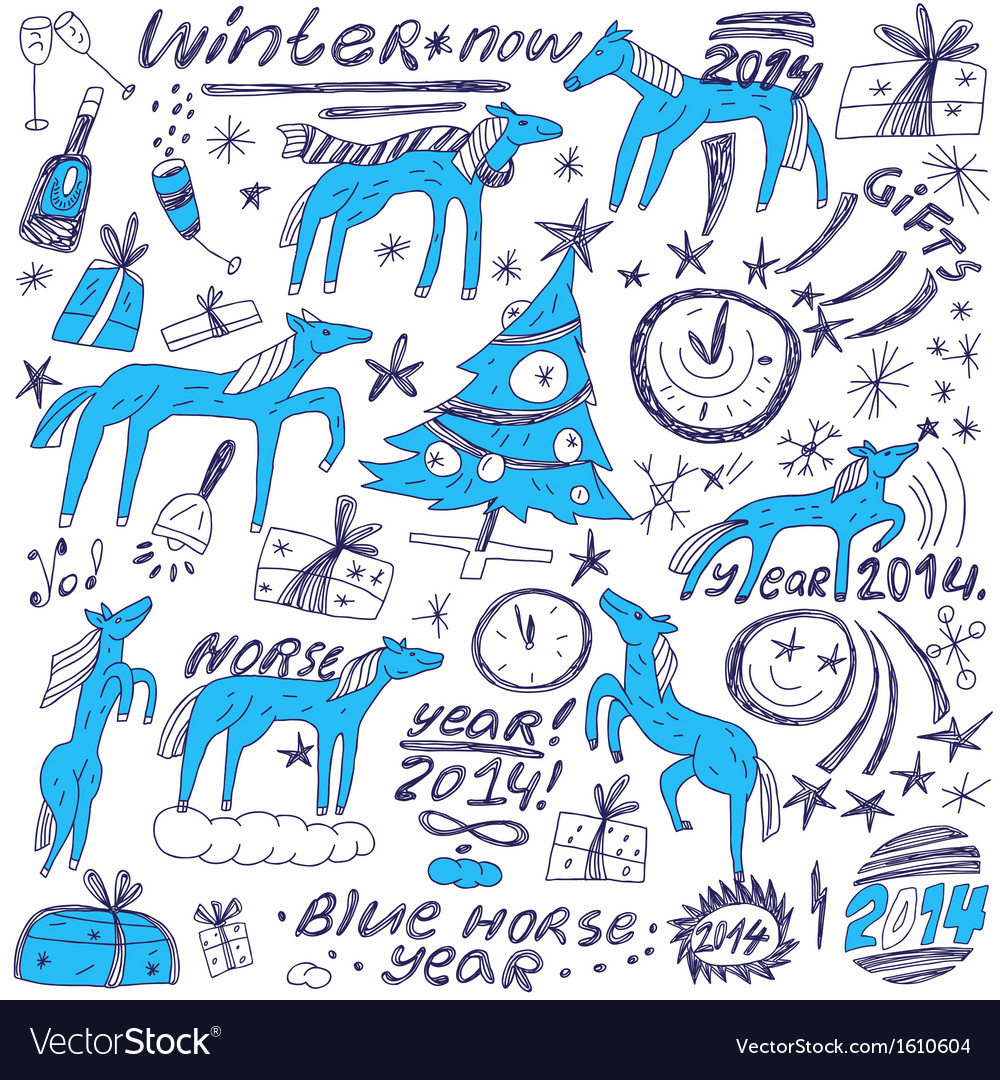 Blue horse new year - doodles set vector image