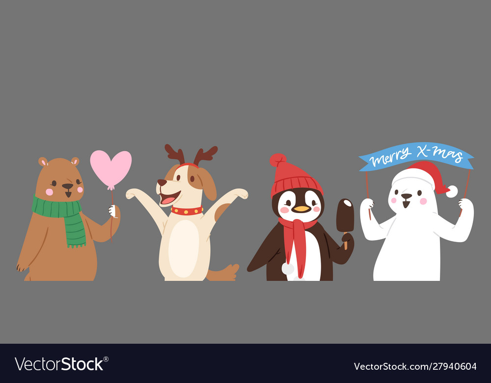 Christmas cute animals banner