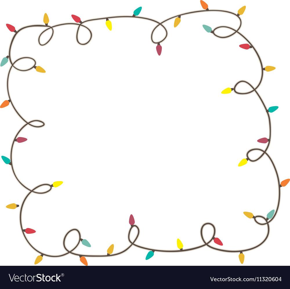 christmas lights frame icon image vector image - Christmas Lights Frame
