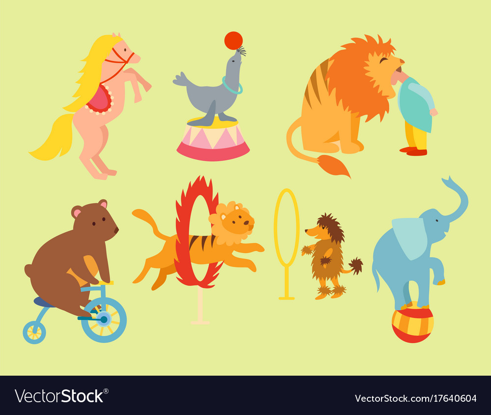 Circus funny animals set icons cheerful