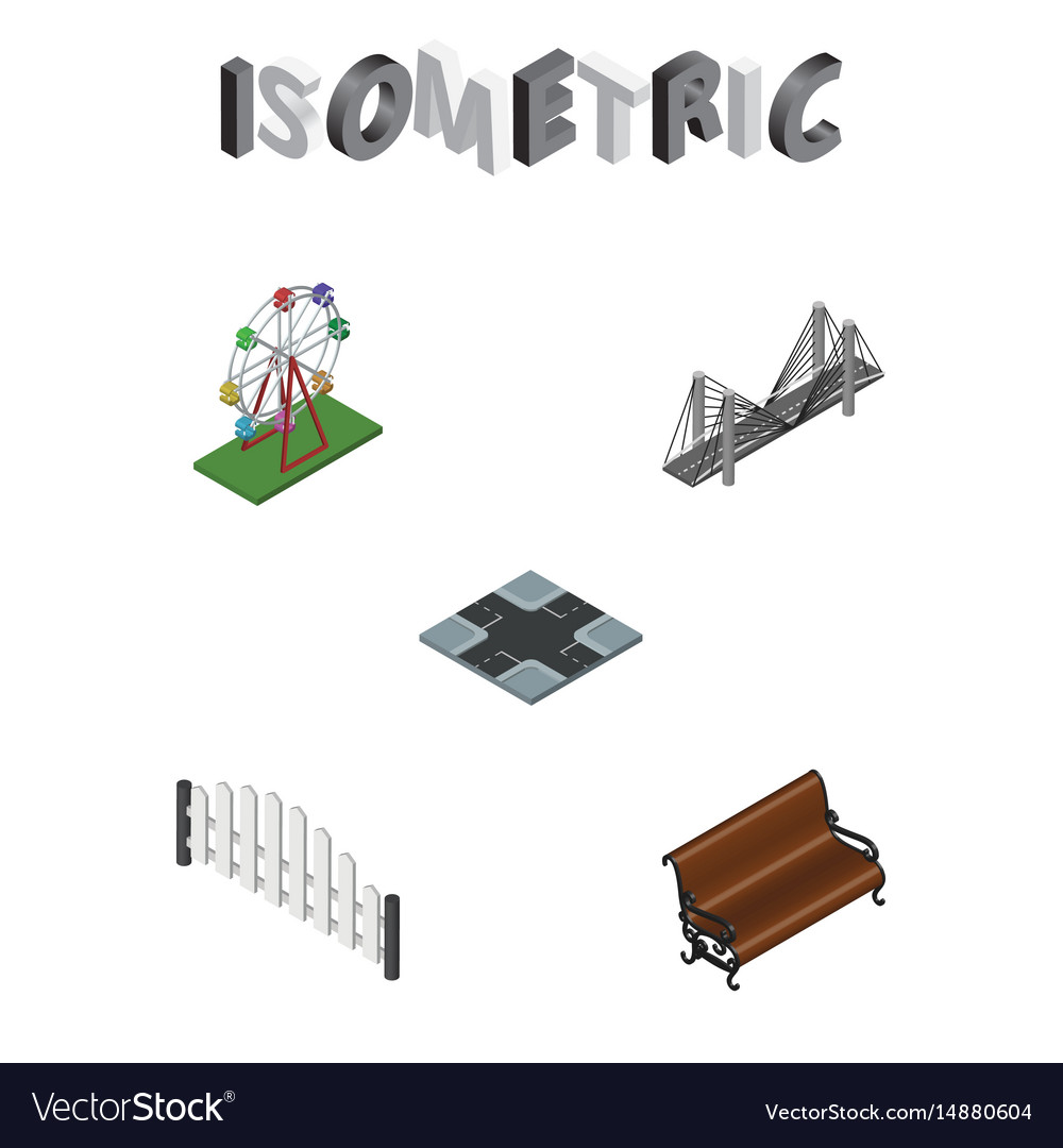 Isometric architecture set of sitting vector image