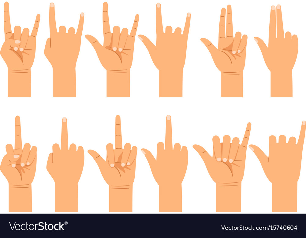 People hand signals different gestures Royalty Free Vector