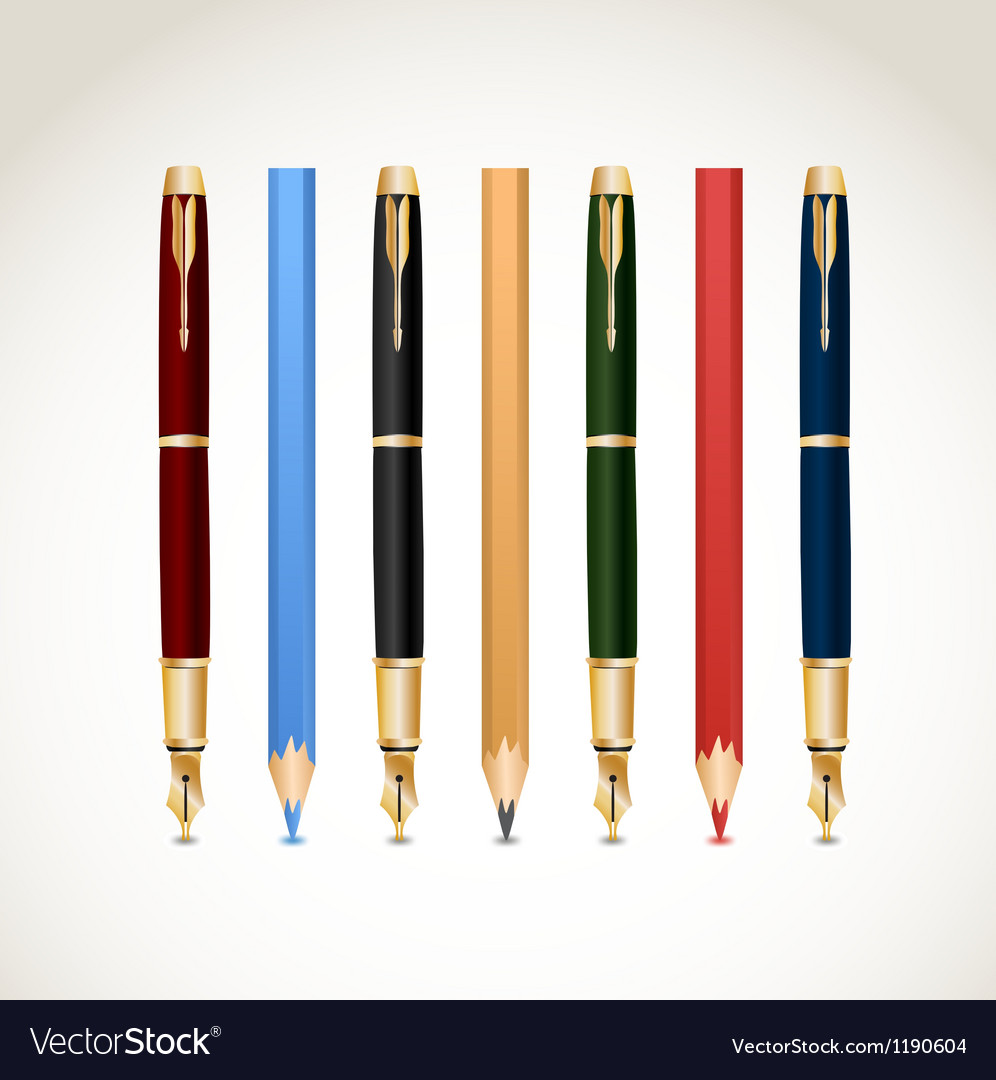 Set pens and pencils vector image