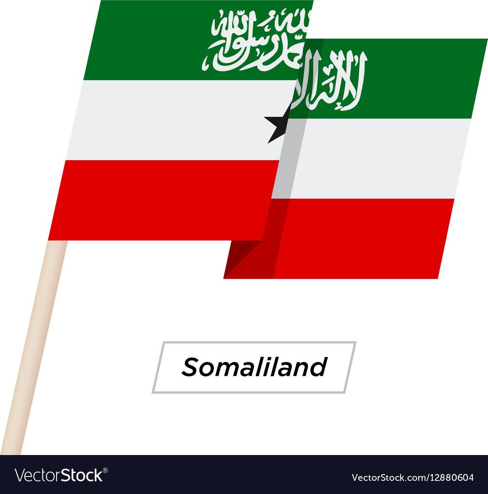 Somaliland Ribbon Waving Flag Isolated on White
