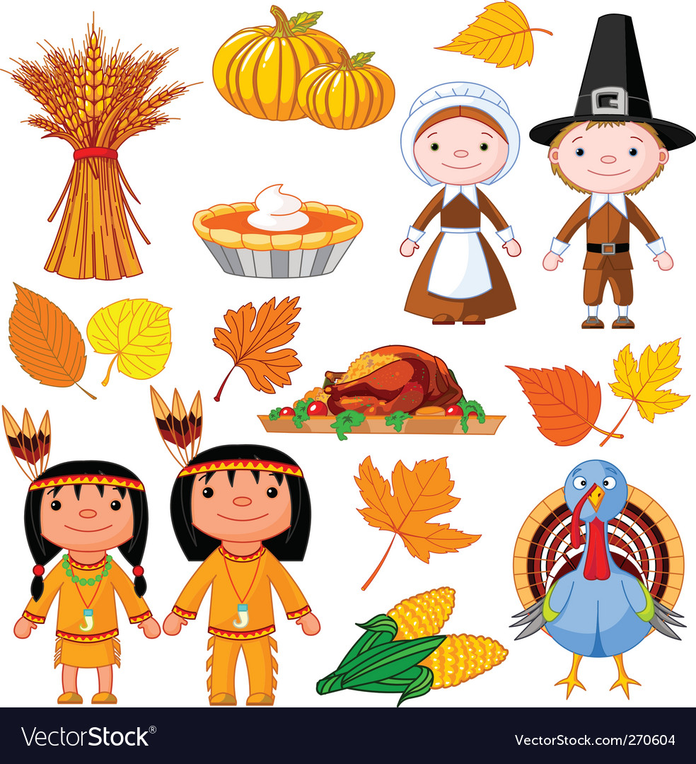 Thanksgiving icon set vector image