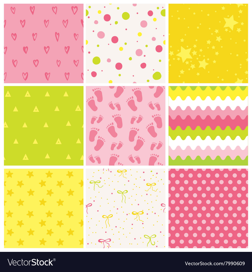 9 Seamless Baby Patterns Texture Wallpaper Vector Image