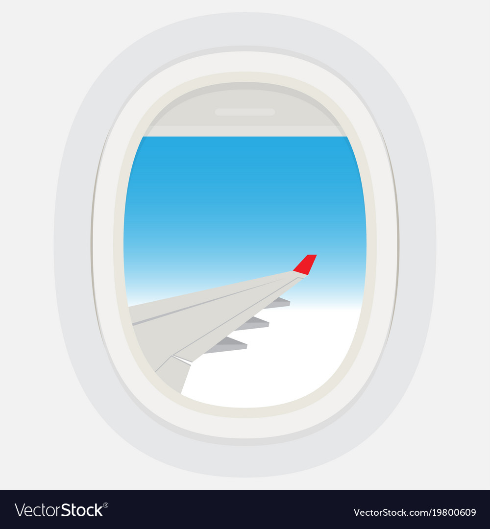 Airplane windows with cloudy blue sky outside
