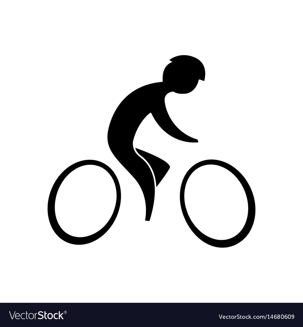 Cyclist black on a white background