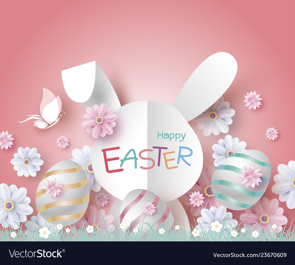 Easter design of paper rabbit and flowers