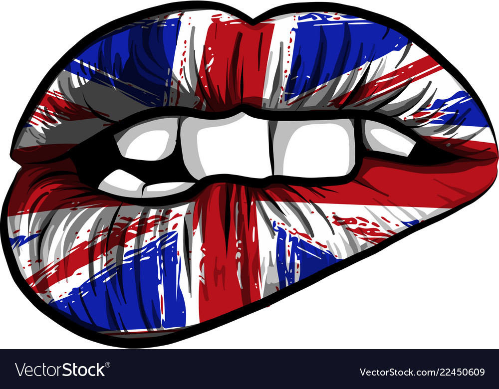 Great britain flag lipstick on sensuality lips