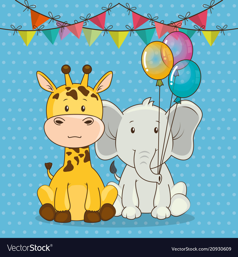 Happy Birthday Card With Cute Animals Royalty Free Vector