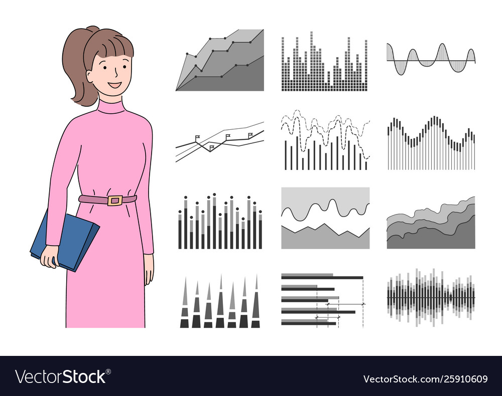 Infocharts and woman holding clipboard with pages
