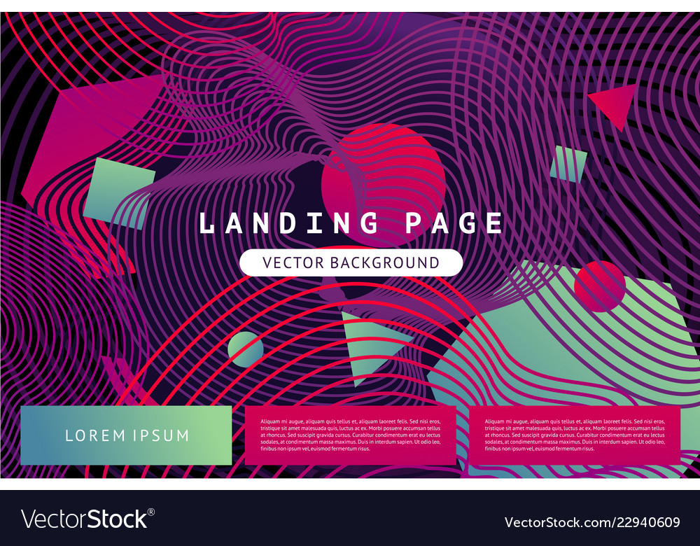 Landing page template with abstract shapes and