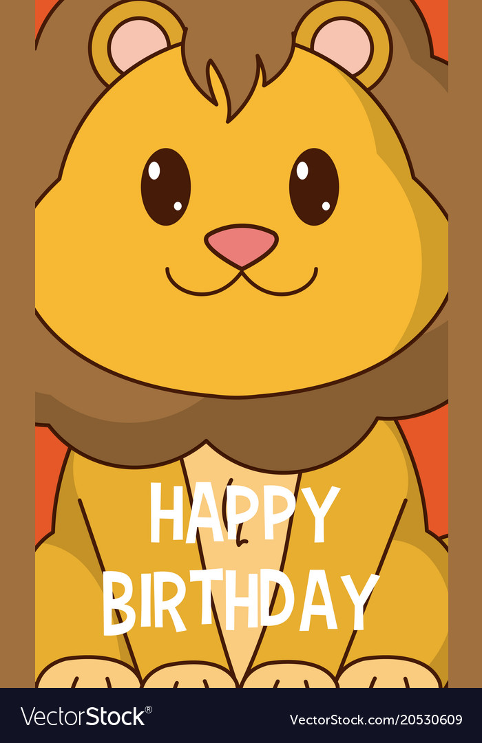 Lion Cute Birthday Card Royalty Free Vector Image