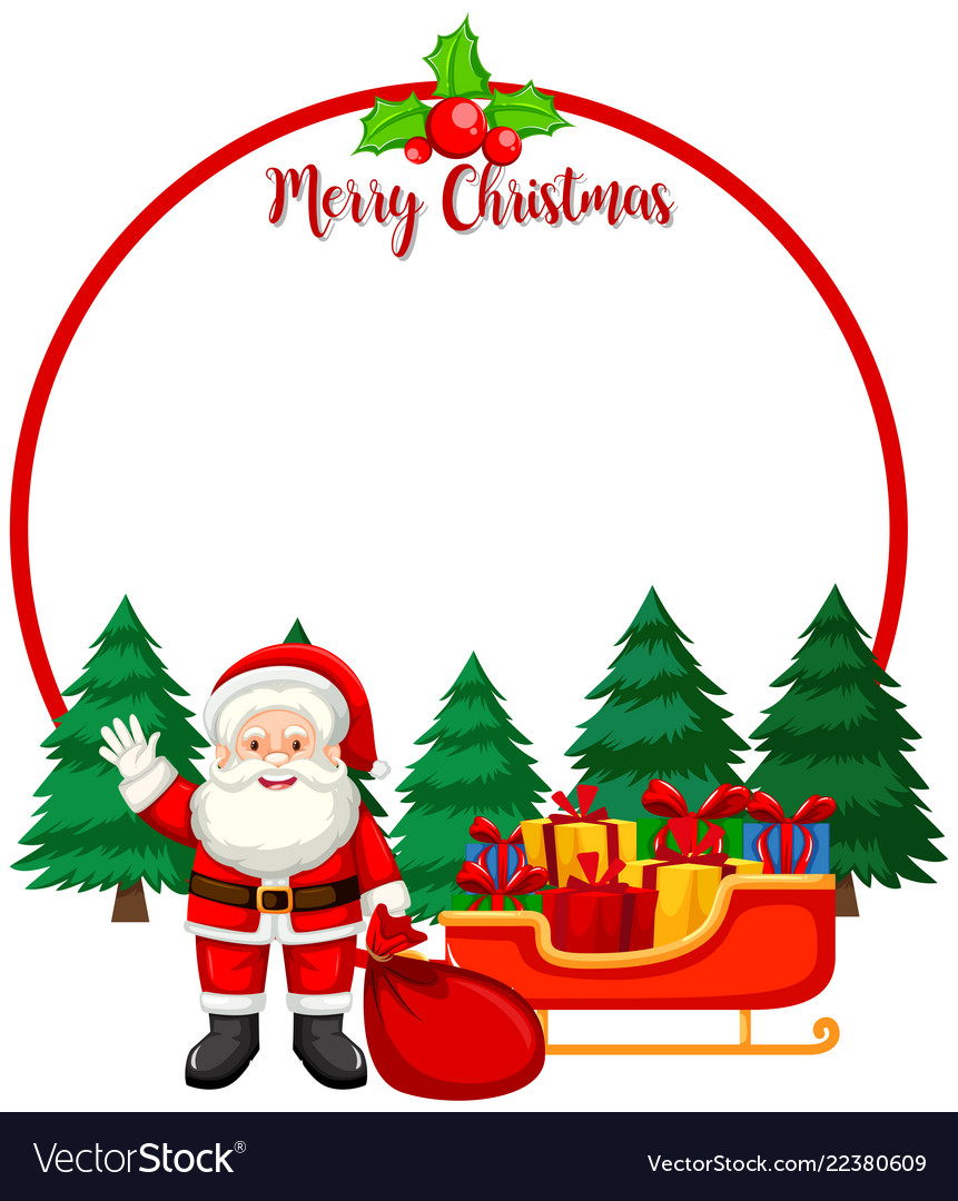 Merry christmas card with santa Royalty Free Vector Image