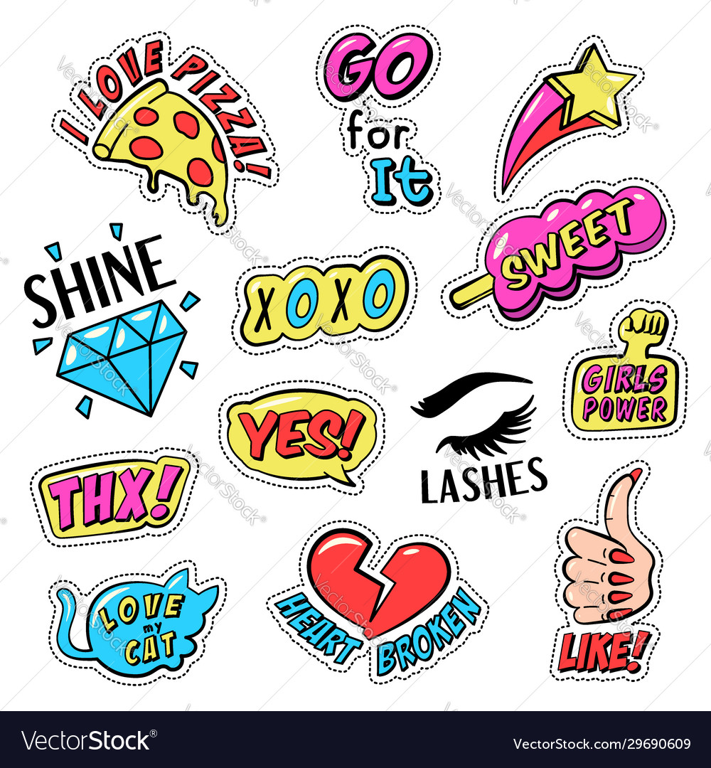 Set colorful retro style stickers badges