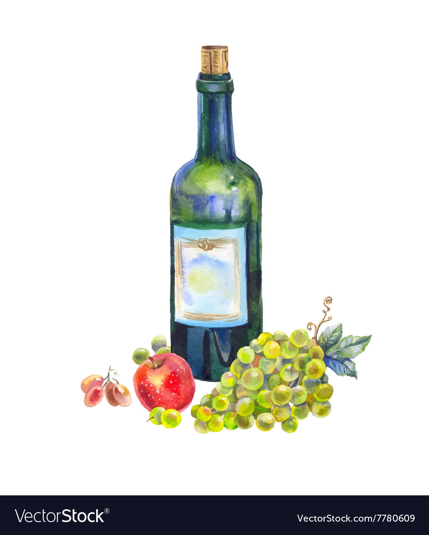 Still life with a bottle of wine grapes and apple