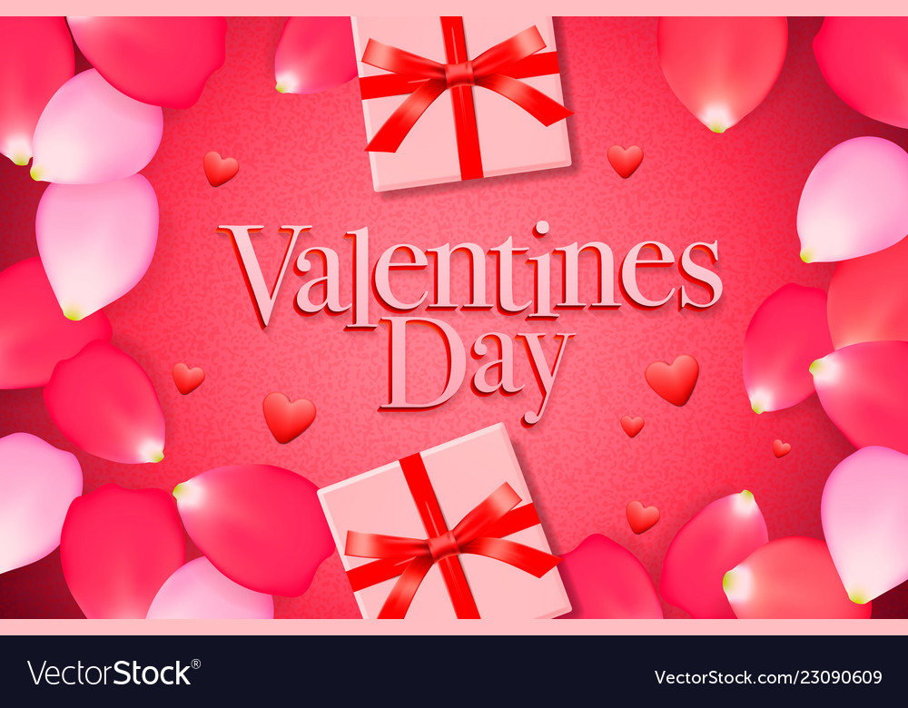 Valentines day sale background with gift box rose