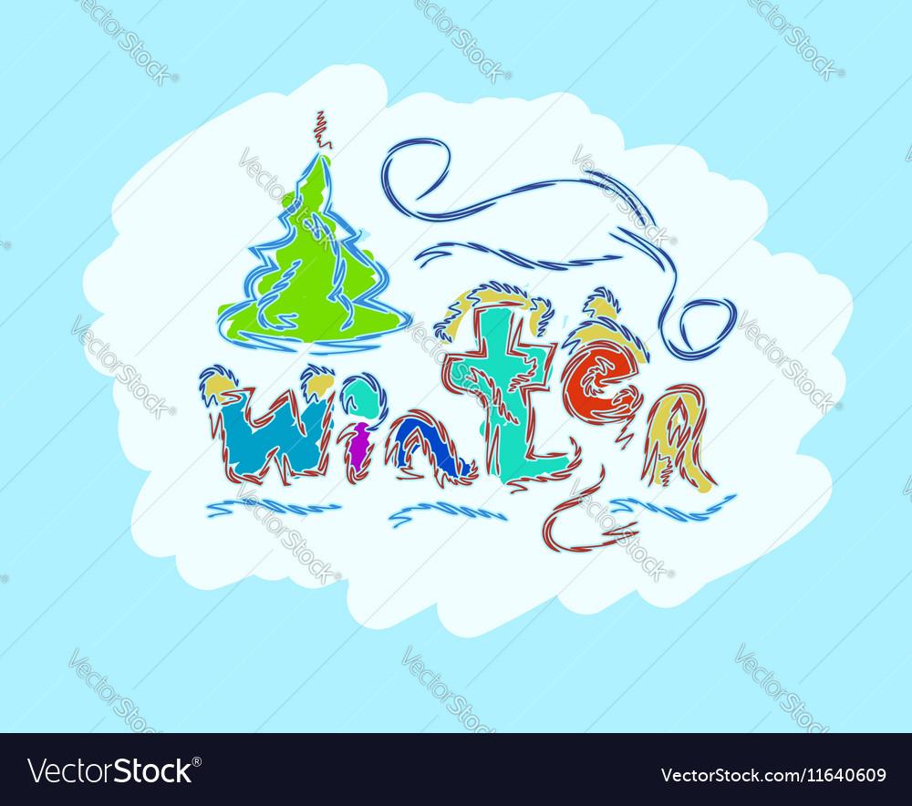Winter text hand drawn creative seasonal card