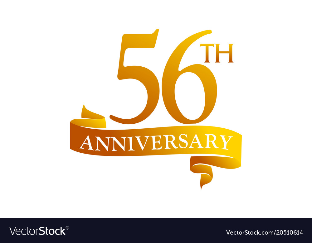 56 Year Ribbon Anniversary Vector Image