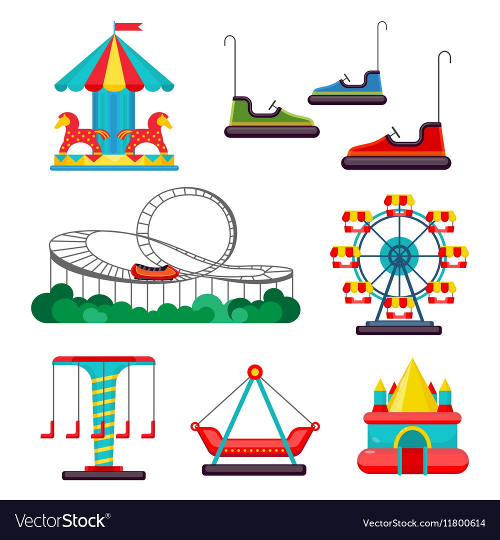 Amusement Park Ride Set of Attractions