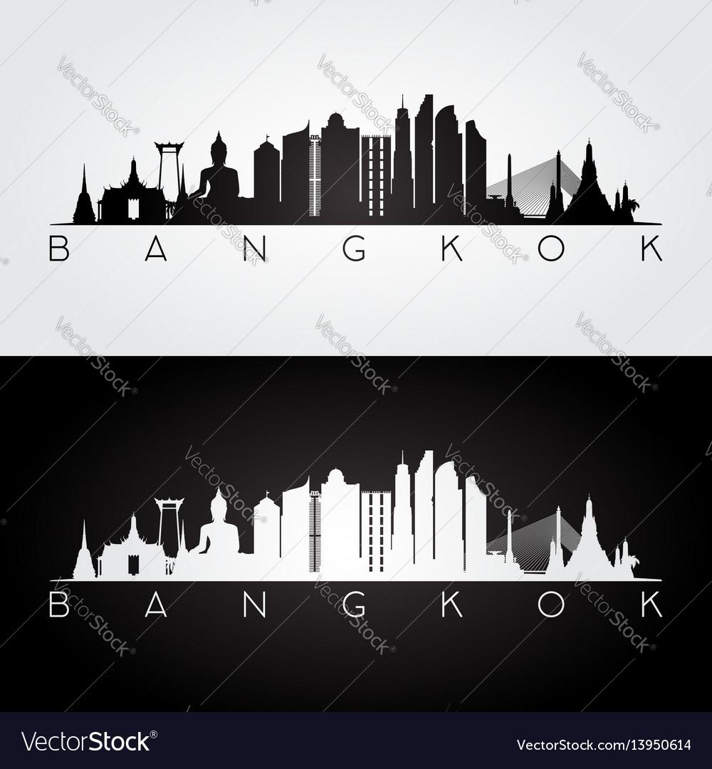 Bangkok skyline and landmarks silhouette
