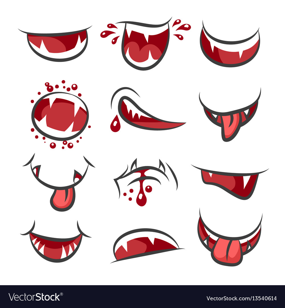 Cartoon monster mouth set isolated on white