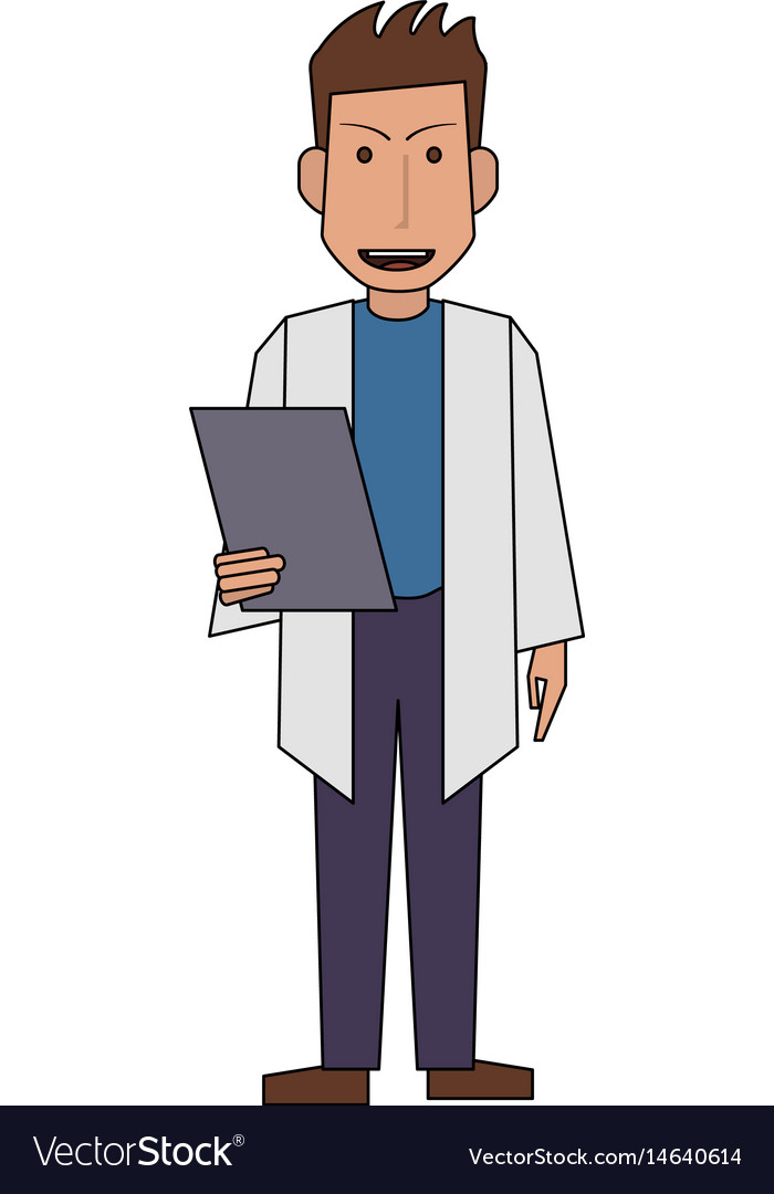 Colorful silhouette full body caricature doctor
