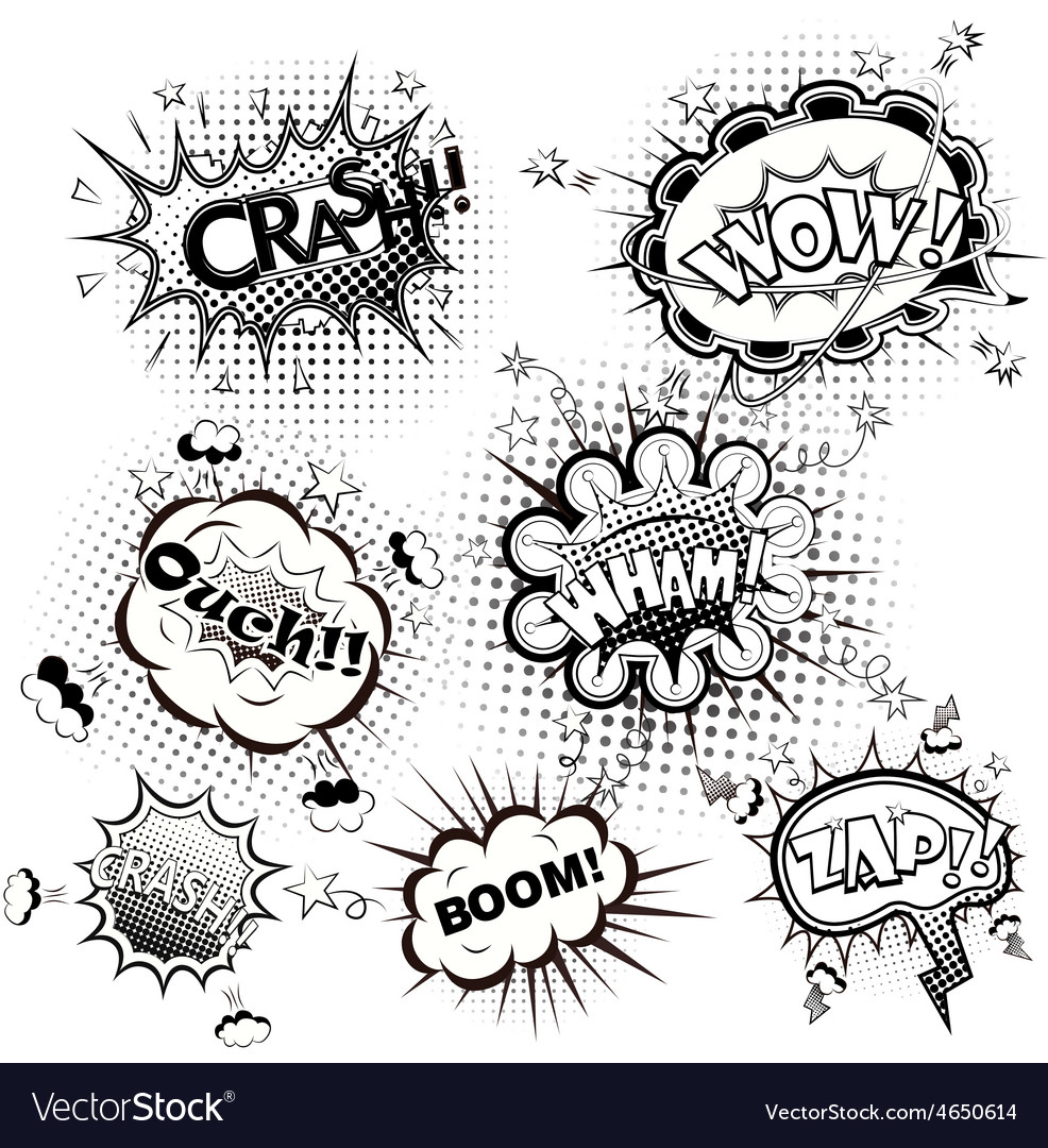 Comic speech bubbles black and white