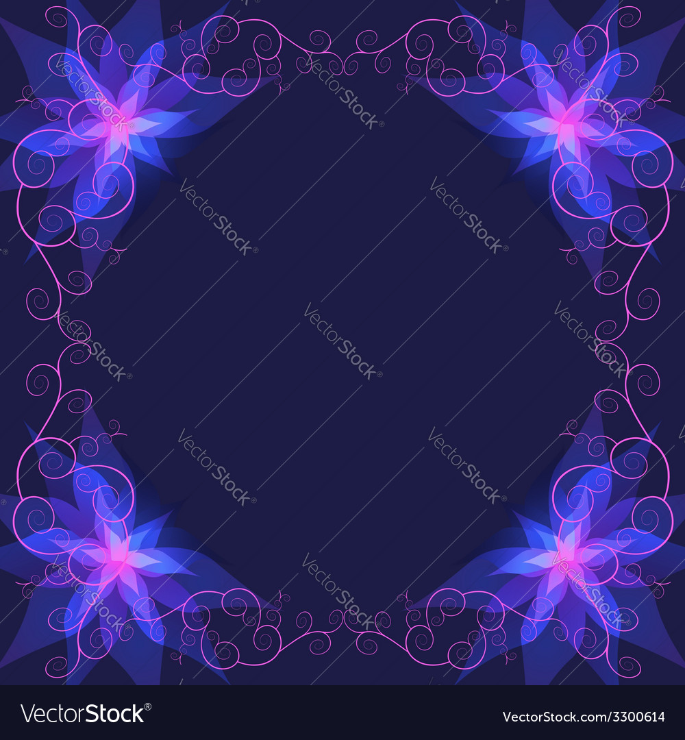 Decorative ornamental frame with blue flower