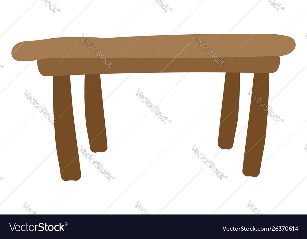 Flat brown table on white background
