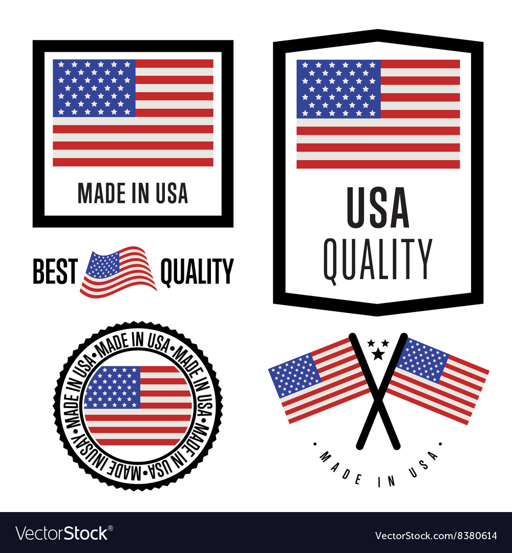 Made in USA label set national flag