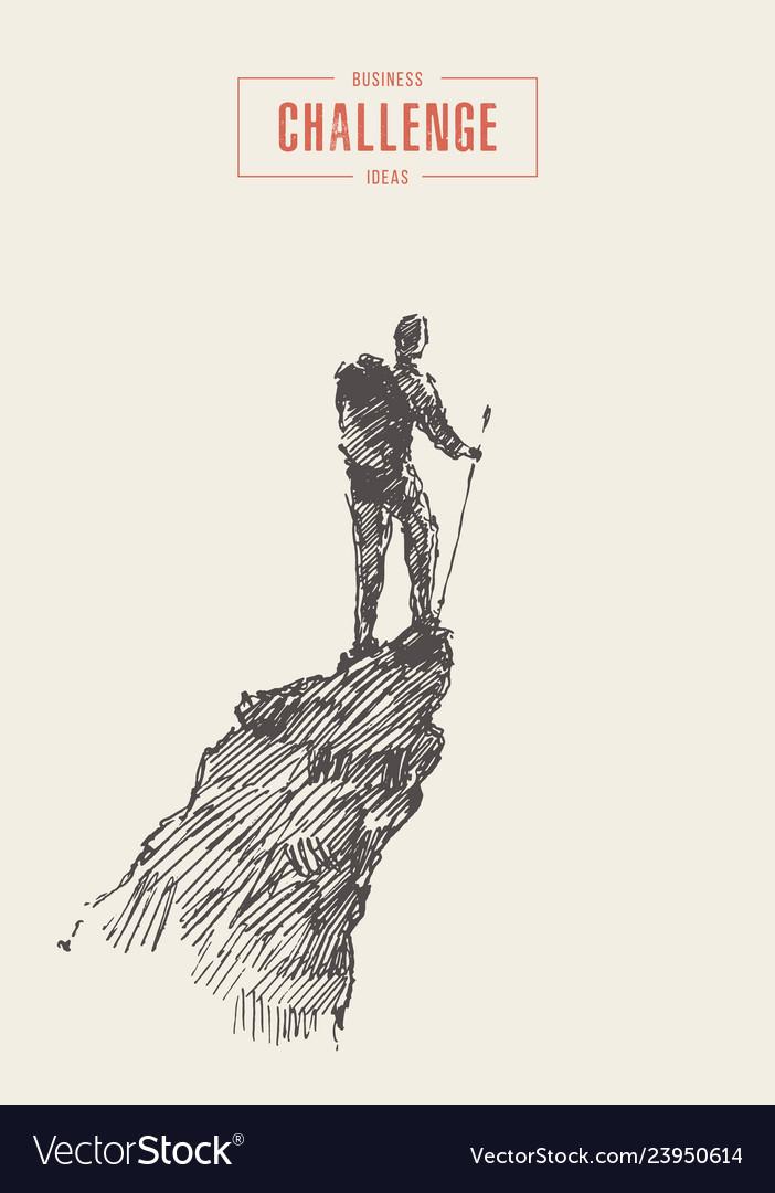 Man on top mountain winner traveler concept
