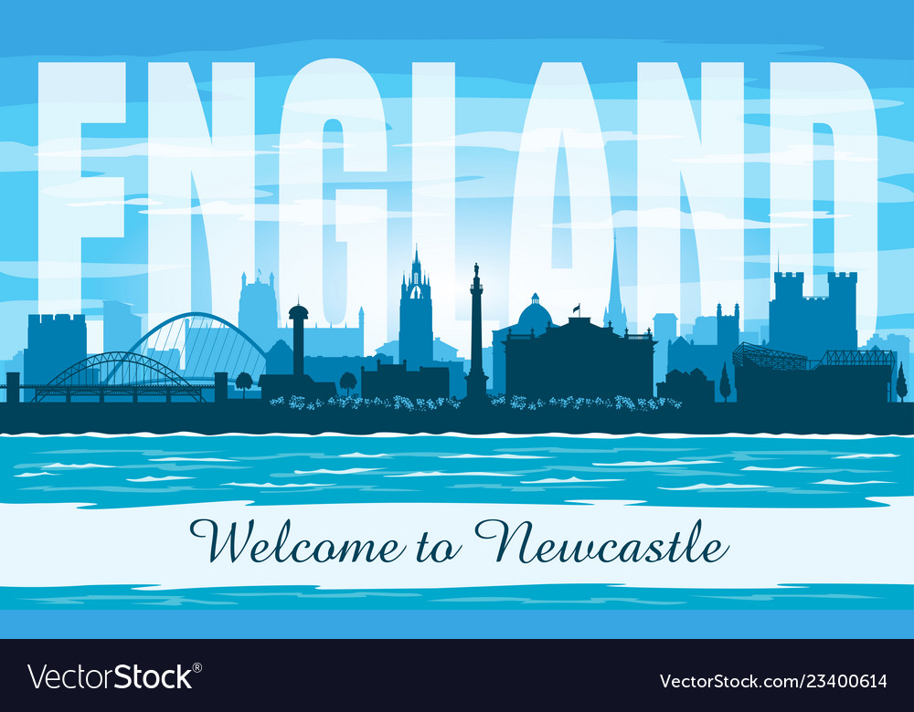 Newcastle United Kingdom City Skyline Silhouette Vector Image