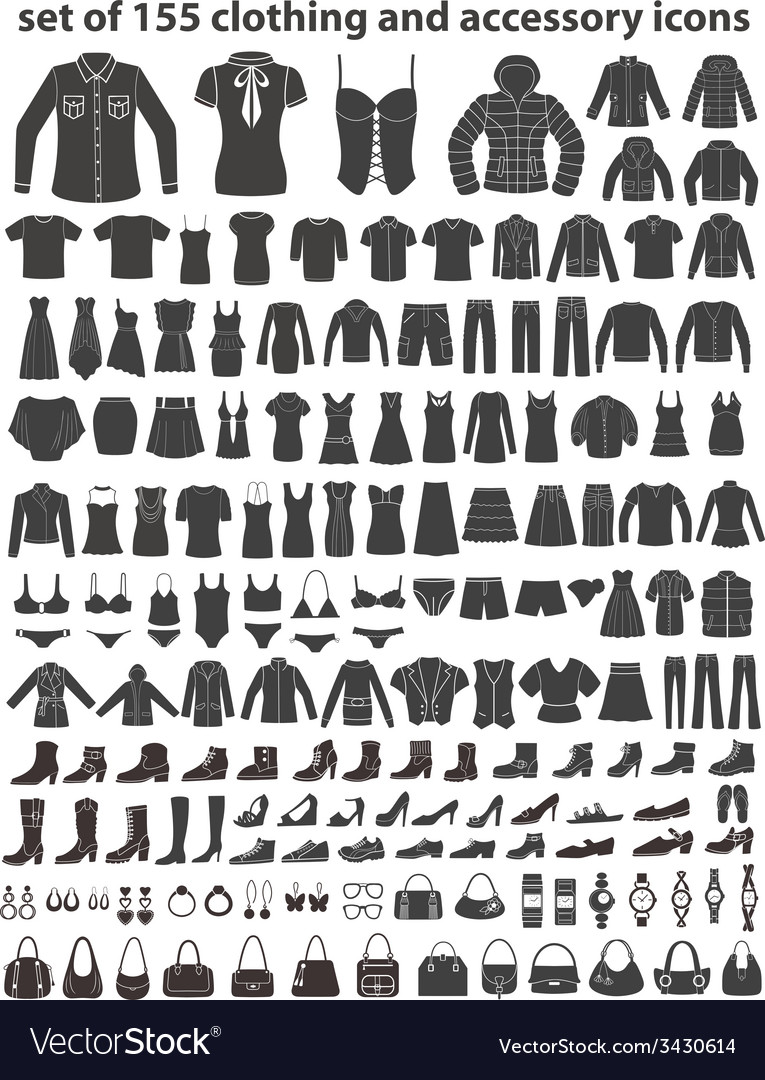 Set of 155 icons clothing shoes and accessories