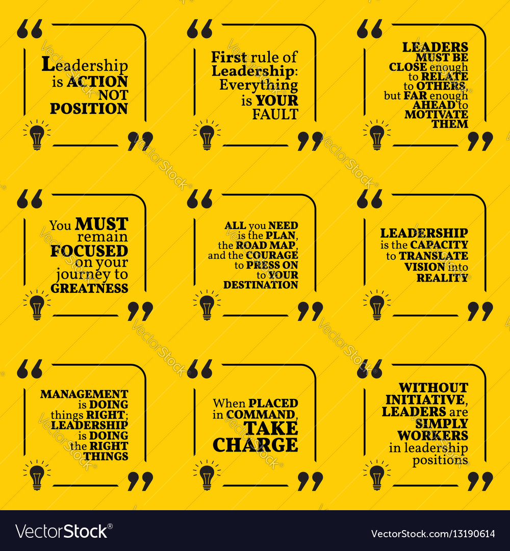 Set of motivational quotes about leadership action