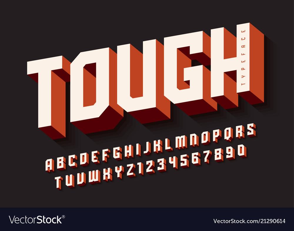 The tough bold display font design alphabet