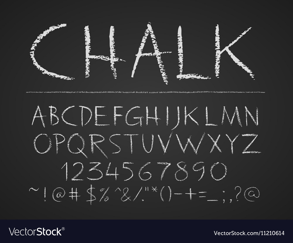 Uppercase letters numbers and symbols hand drawn vector image