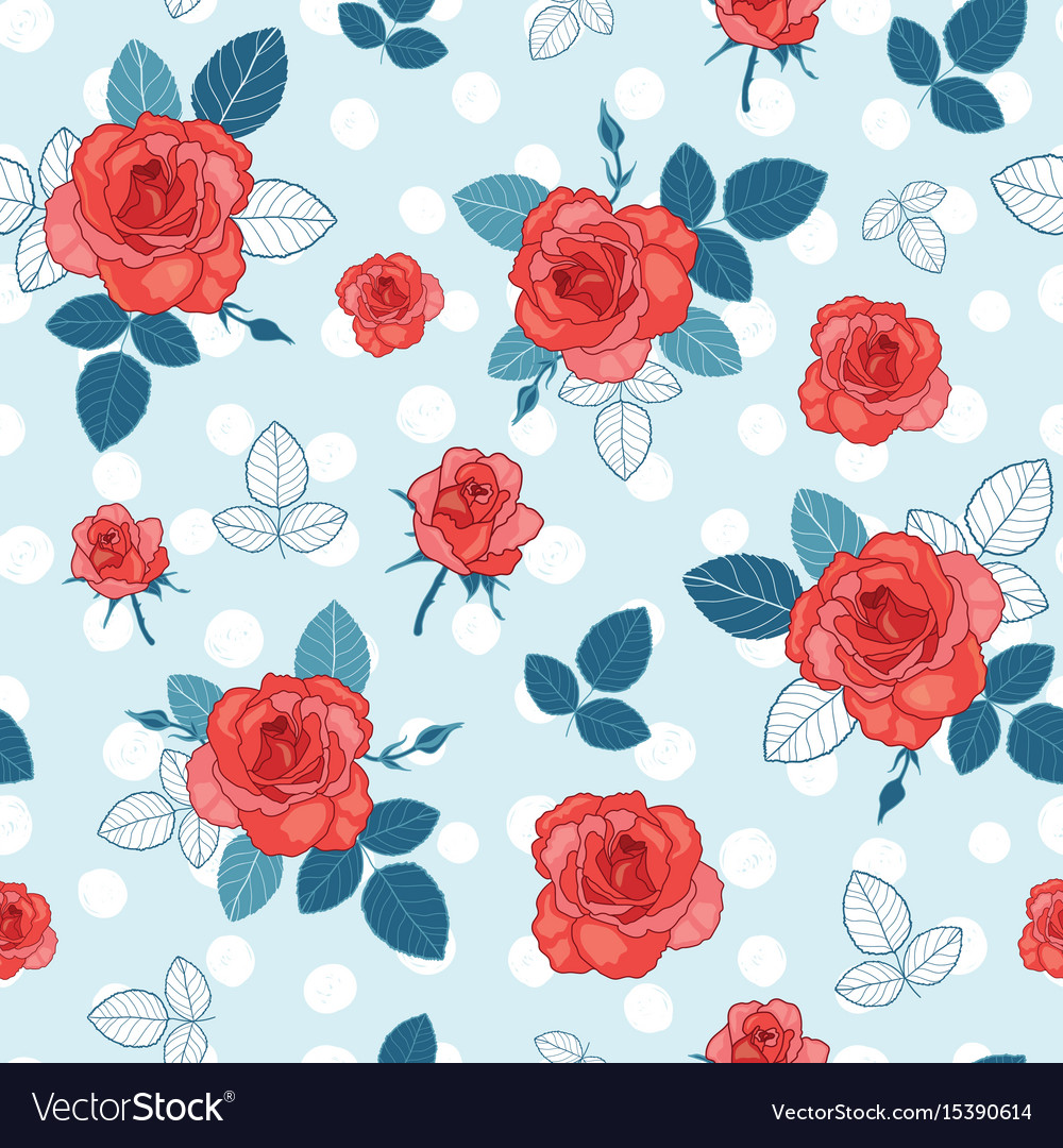 Vintage Blue Red And White Roses And Royalty Free Vector