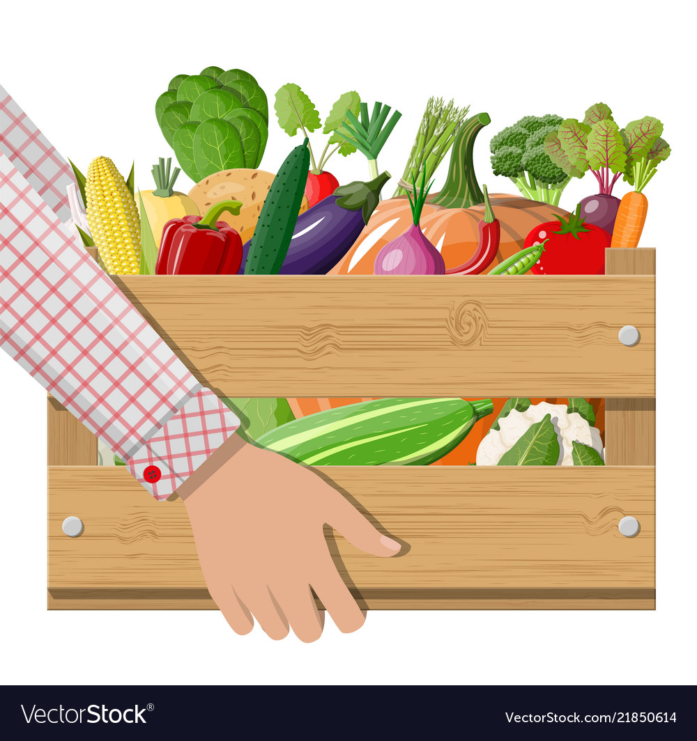 Wooden box full of vegetables in hand