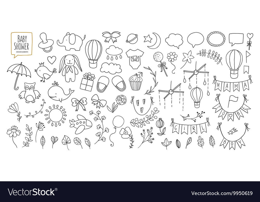 Baby shower related design elements set Hand