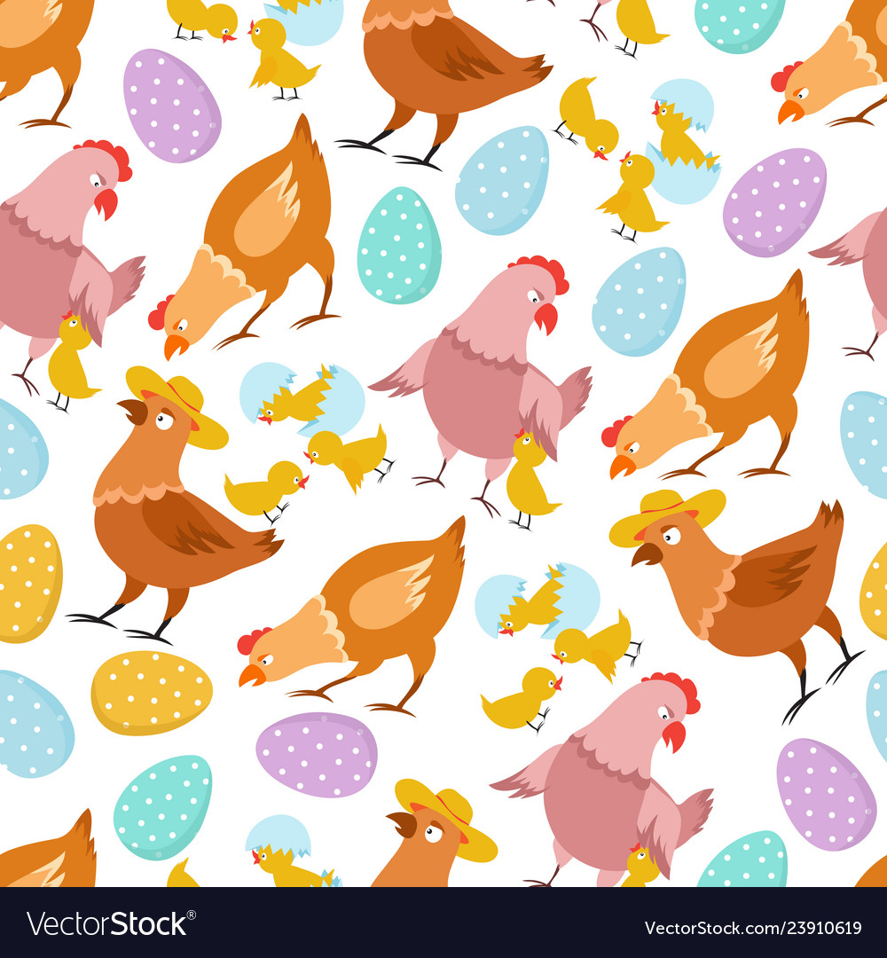 Chicken seamless pattern happy easter chick hen