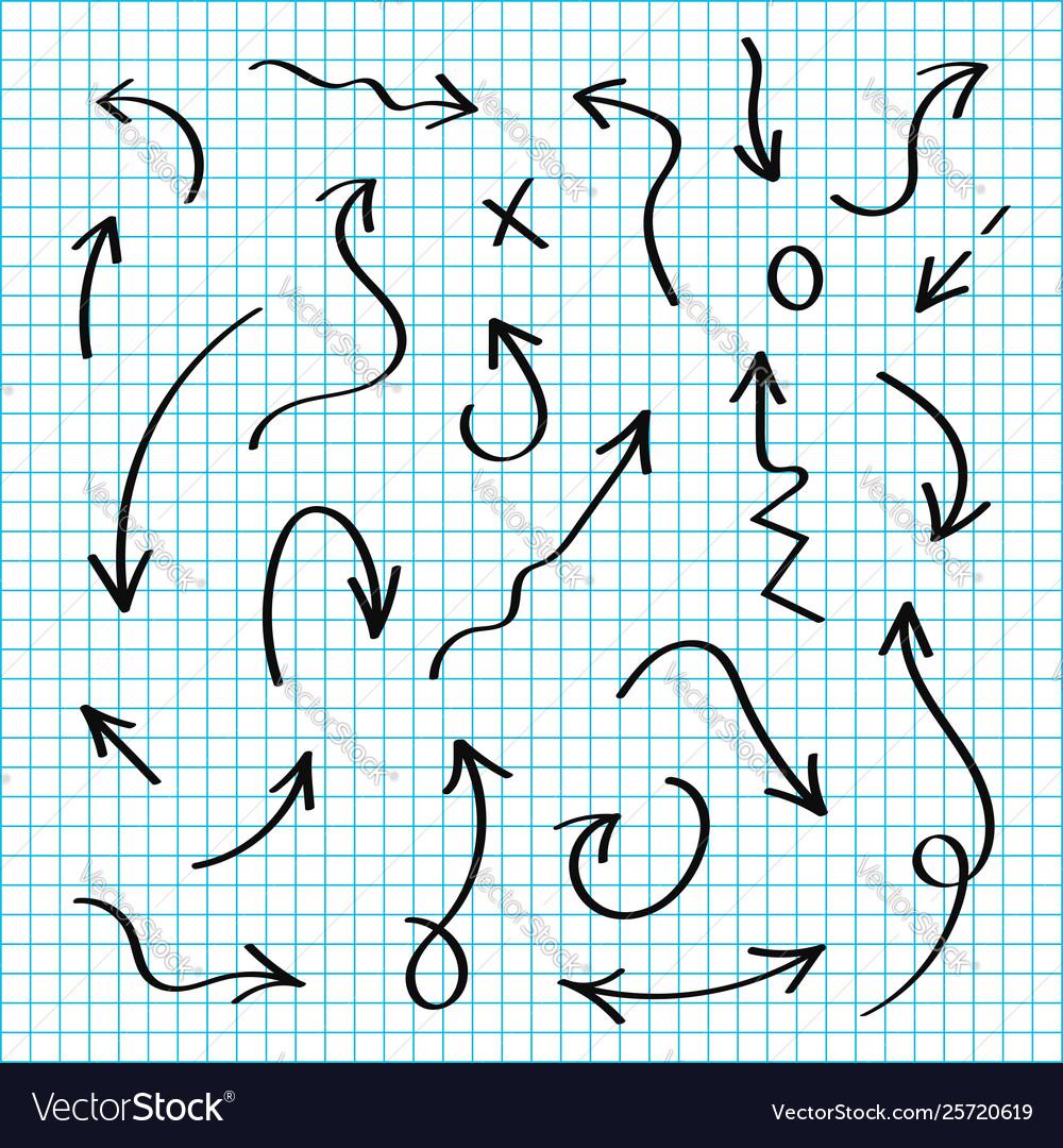 Hand drawn arrows set black sketch arrows in