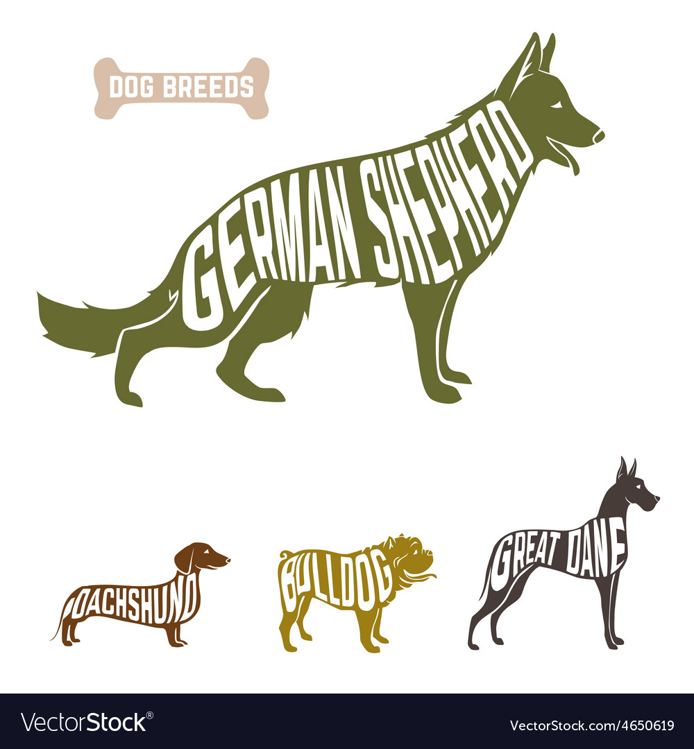 Isolated Dog Breed Silhouettes Set With
