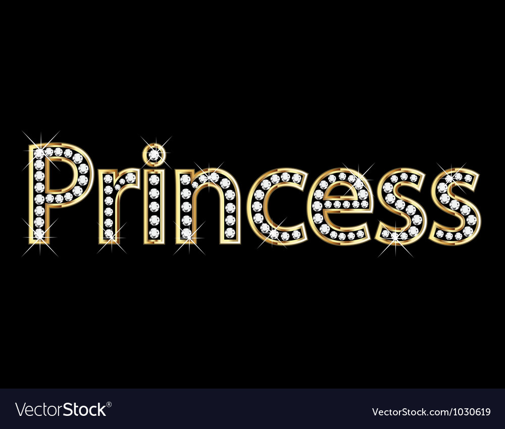 Princess word gold letters vector image