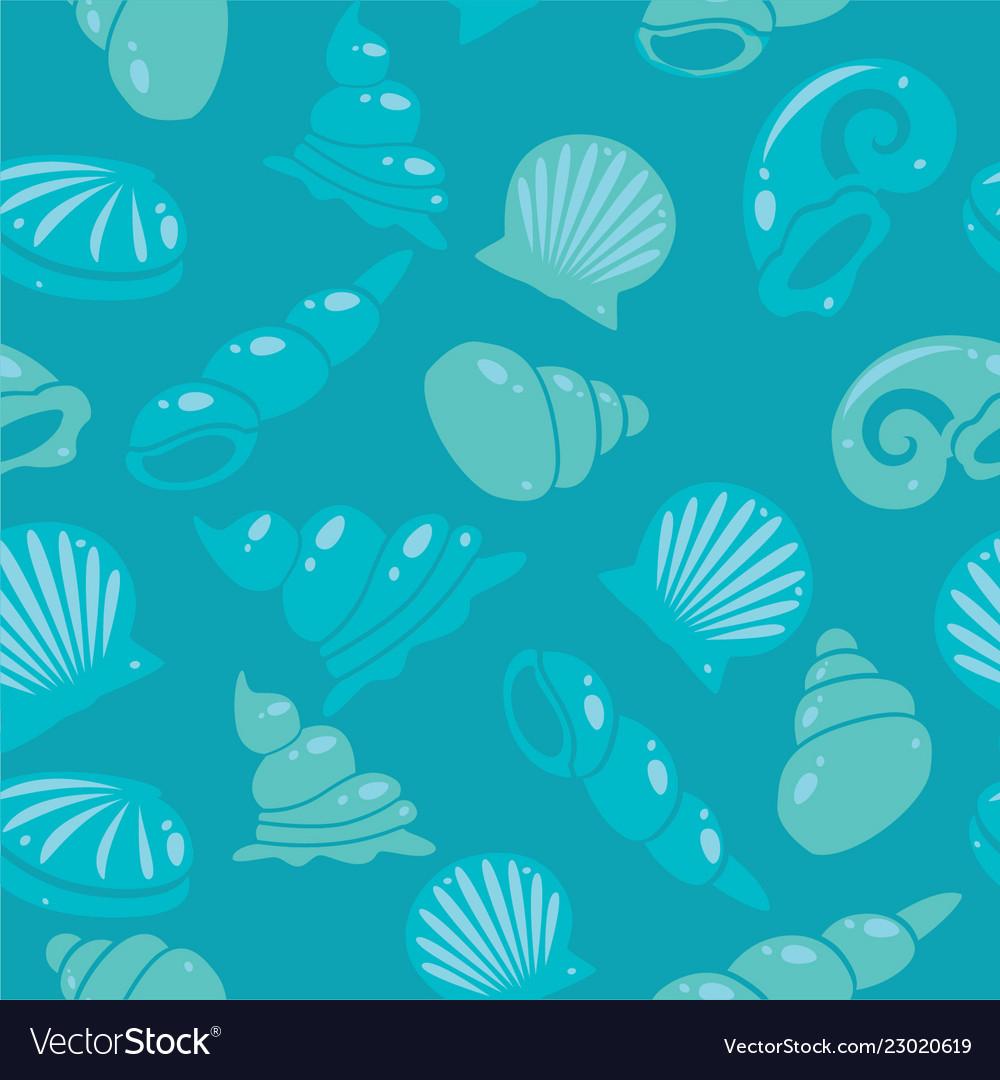 Sea shells seamless pattern