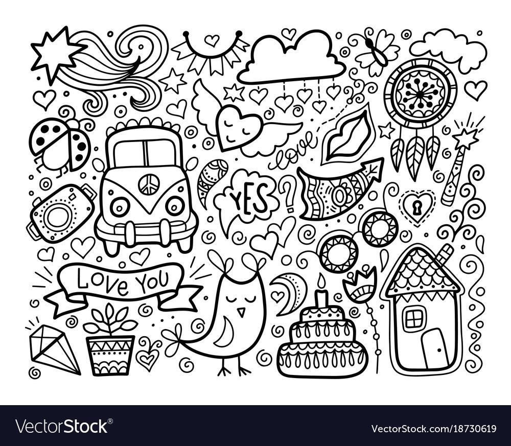 Sketch doodle love set black and white elements