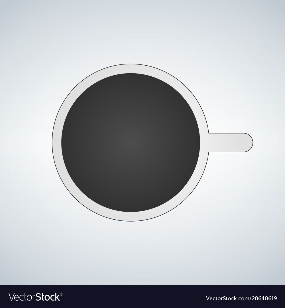 Top view of mug with coffe icon on white vector image